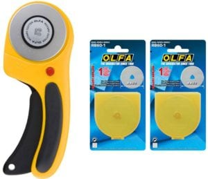 OLFA Rotary Cutter Ergonomic Handle with Free 2 Rotary Blade