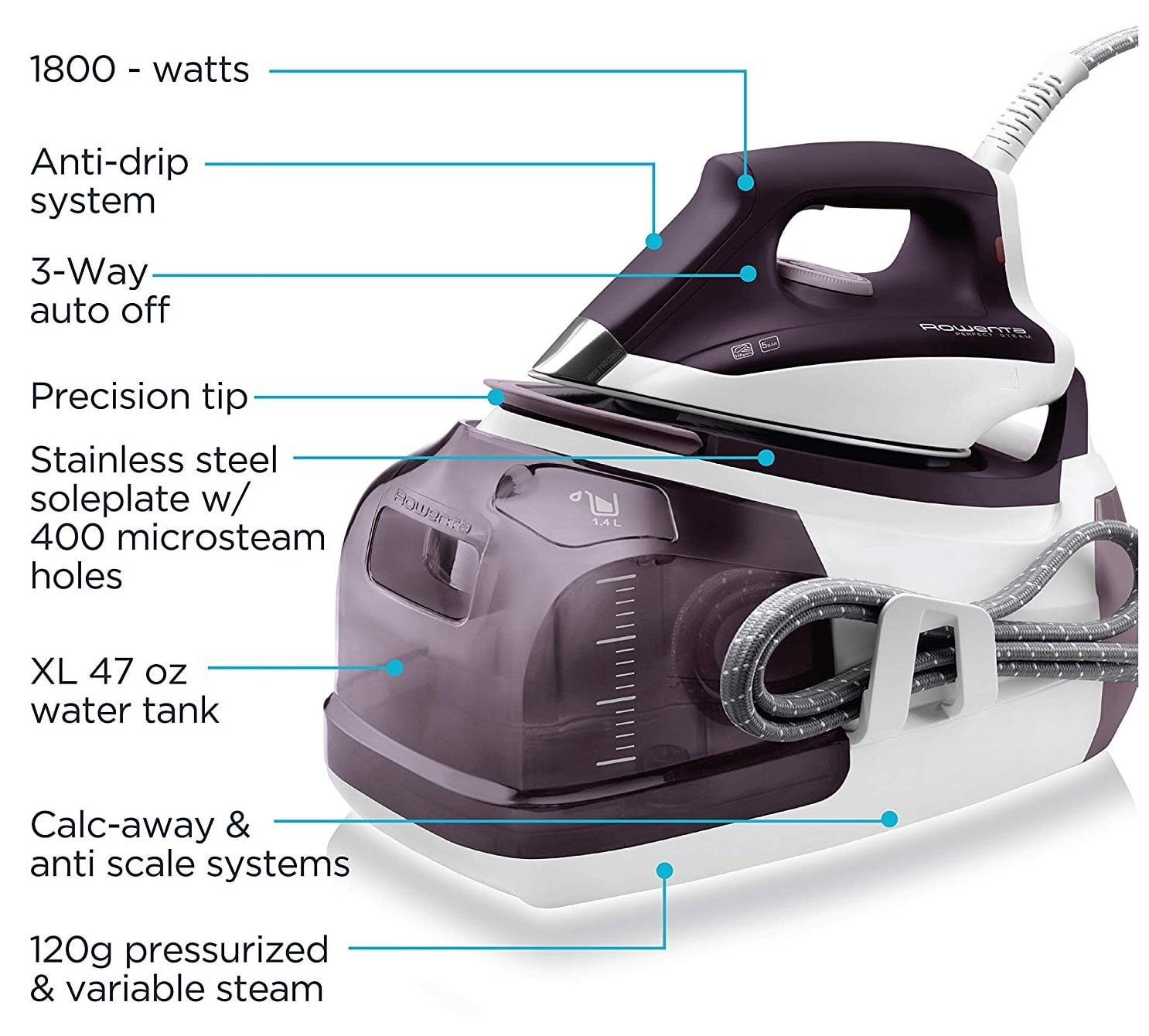 Best Iron for Quilting - Rowenta DG8520 Perfect Steam 1800-Watt Eco Energy Steam Iron Station