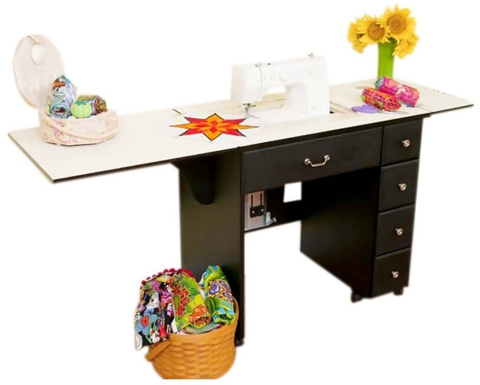 Auntie Black Laminate Airlift Sewing Cabinet - Quilting Cabinets