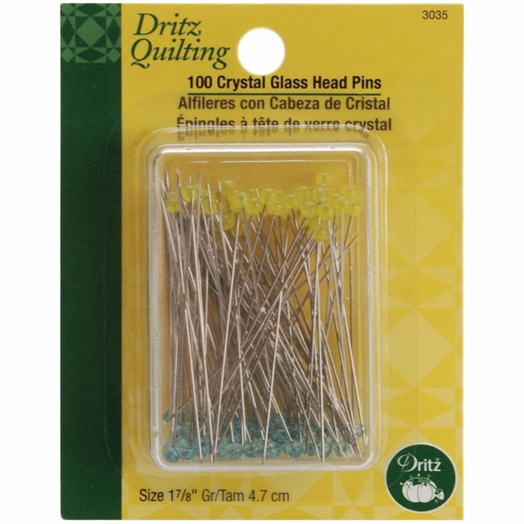 Dritz Quilting 3035 Crystal Glass Head Pins, 100 Count