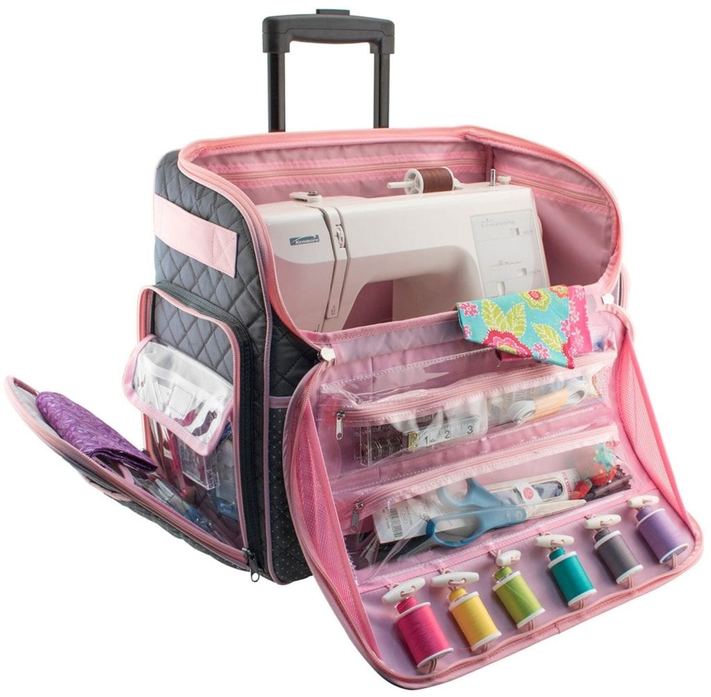 Everything Mary Deluxe Quilted Pink and Grey Rolling Sewing Machine Tote