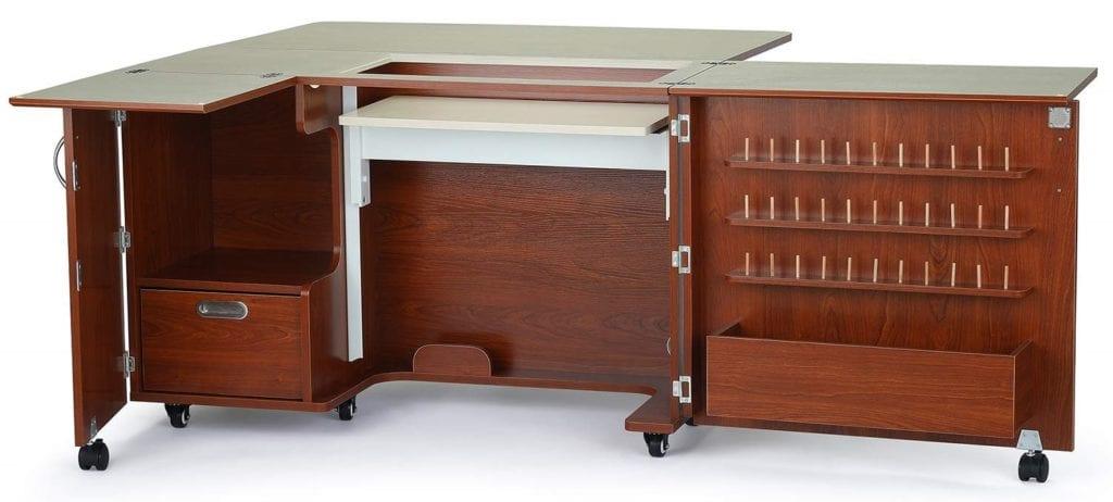 Kangaroo Kabinets Wallaby II Sewing Cabinet-Teak - Quilting Cabinets