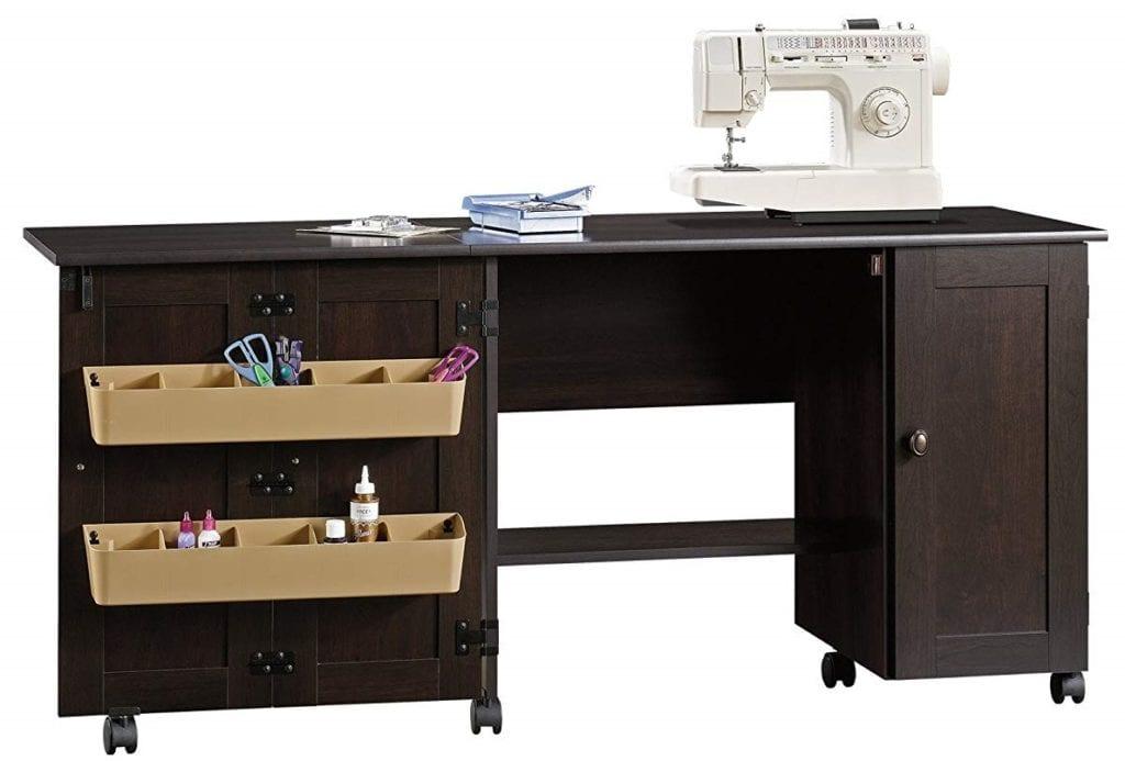 Sauder Select Sewing Craft Cart Cinnamon Cherry Finish