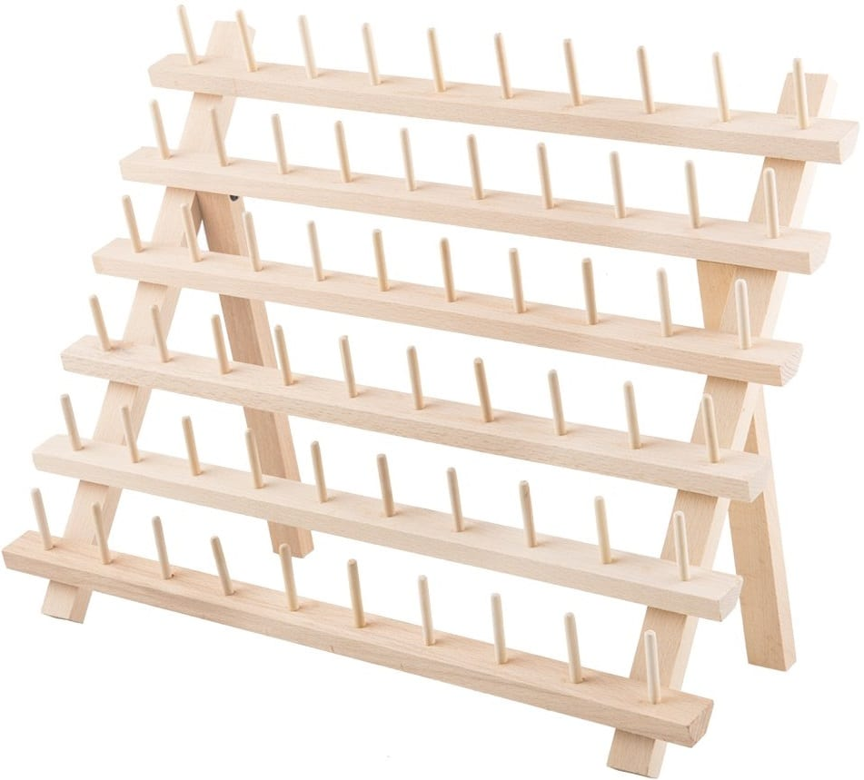Tosnail 60-Spool Beechwood Thread Rack Embroidery Thread Holder