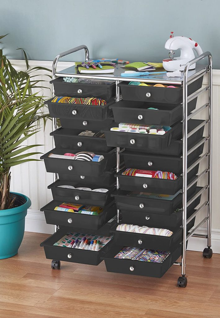 ECR4Kids 20-Drawer Mobile Organizer, Black
