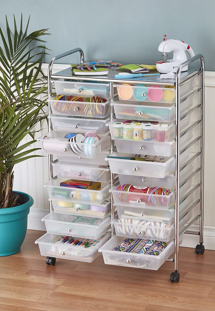ECR4Kids 20-Drawer Mobile Organizer, White