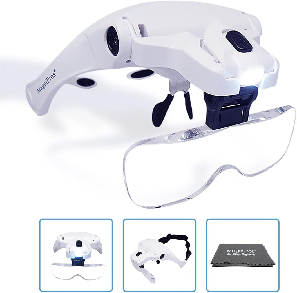 MagniPros LED Illuminated Headband Magnifier Visor