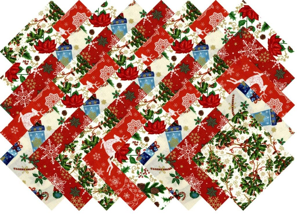 Christmas Favorites Holiday Collection 40 Precut 5-inch Quilting Fabric Squares By Santee