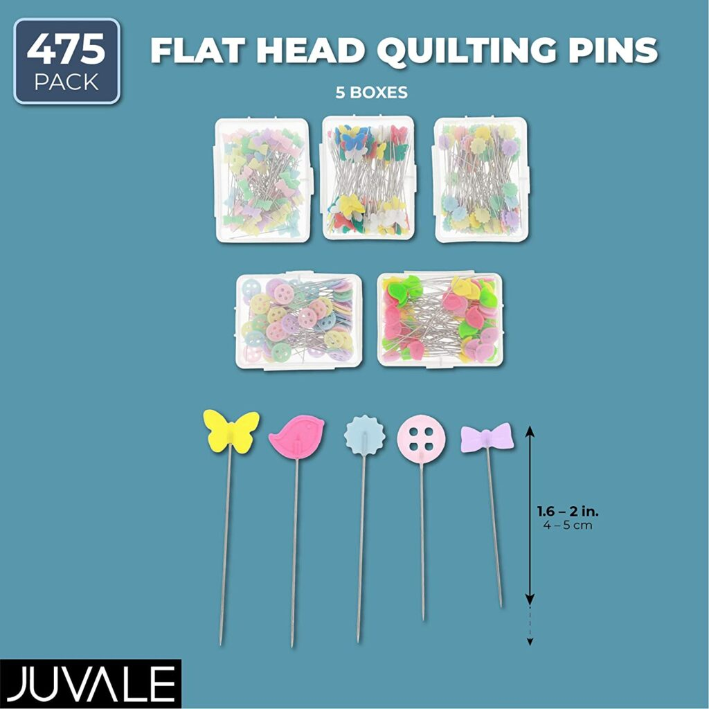 Sewing Pins, Flat Head Pins (5 Designs, 475 Pieces)