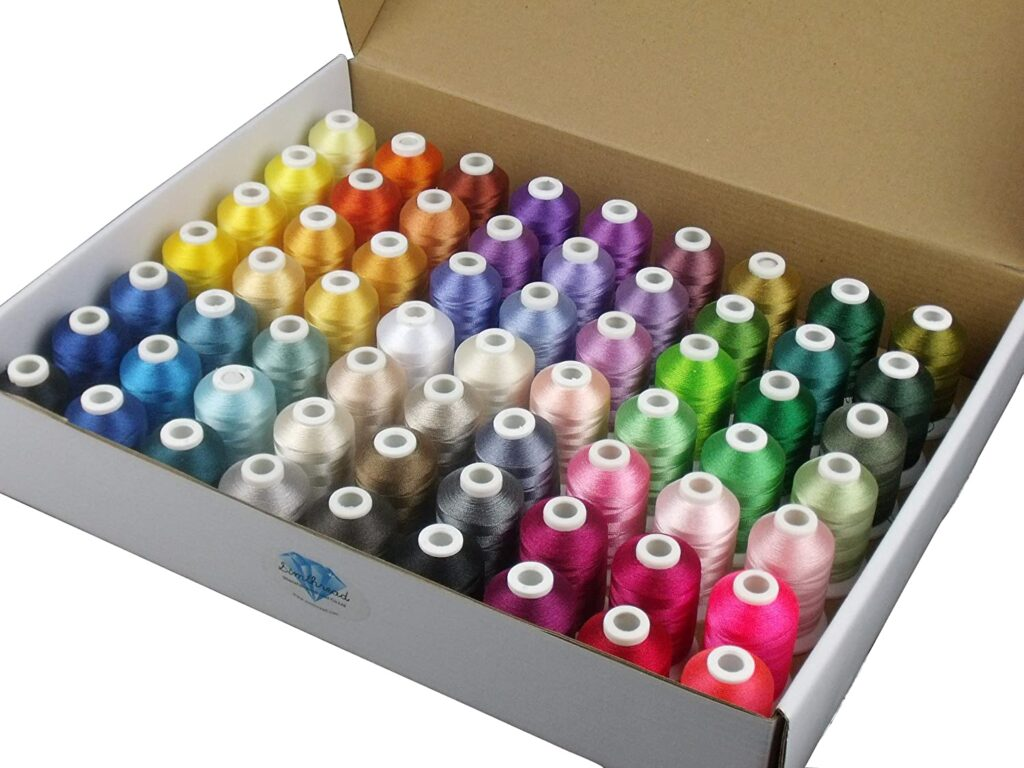 Best Thread Spools for Traveling Quilters - Simthread 63 Brother Colors Machine Thread Kit 40 Weight